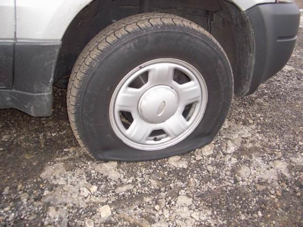 No fun at work is like a flat tire